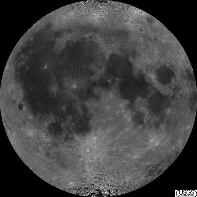 albedo map of the nearside of the Moon