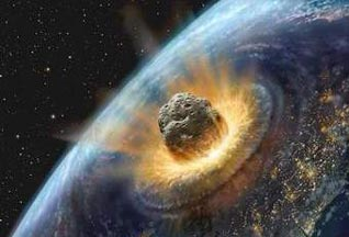 large asteroid colliding with the Earth