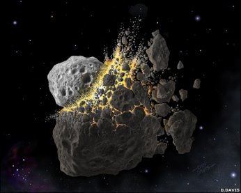 artwork of a collision between asteroids