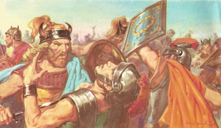 Battle between the Romans and Picts at Mons Graupius