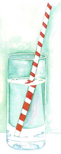 the apparent bending of a straw by refraction