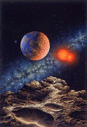 artist's impression of a habitable planet orbiting a binary star