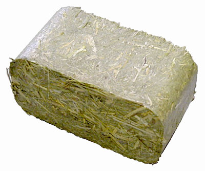 a briquette may of compressed hay