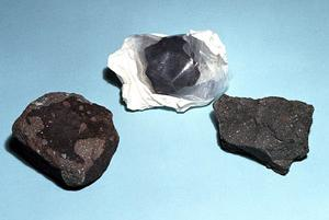 Left to right: fragments of the Allende, Yukon, and Murchison meteorites