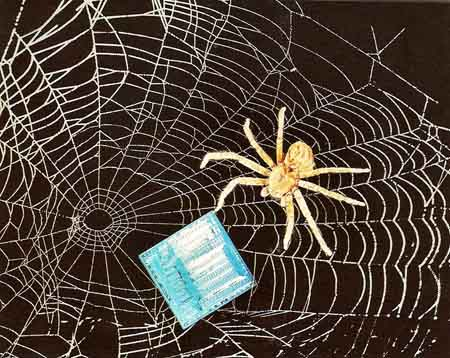 silicon chip on a spider's web