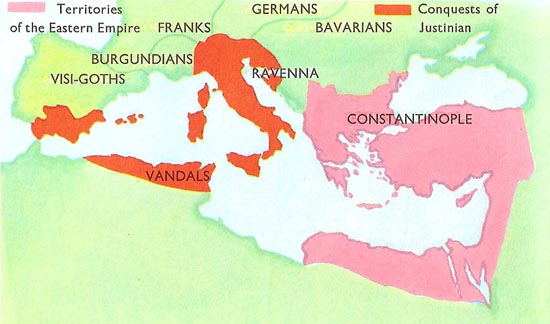 Eastern Empire and conquest of Justinian