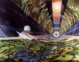 interior of cylindrical space colony