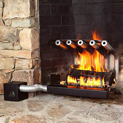 A fireplace heater system typically consists of a series of C-shaped steel tubes designed to increase the efficiency of a fireplace.