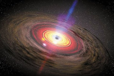 black hole at the center of an active galaxy