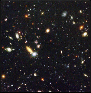 a large cluster of galaxies taken by Hubble's Deep Field Camera