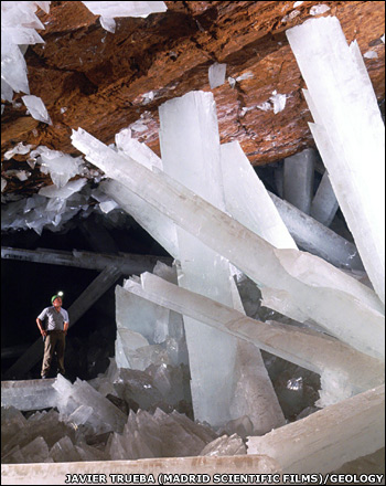 giant gypsum crystals in Mexico's Naica mine
