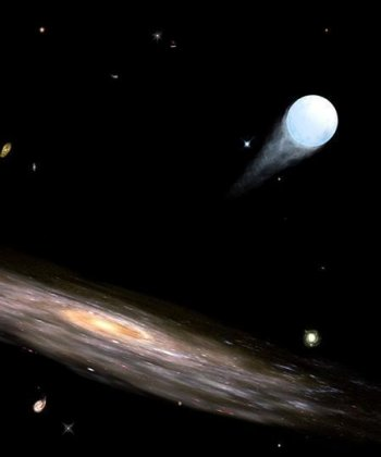artist's impression of a hypervelocity star leaving the Galaxy