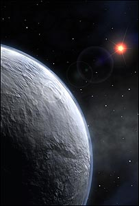 artist impression of an icy super-earth