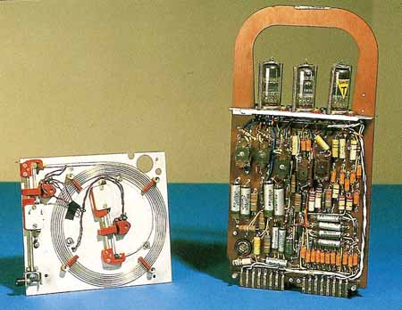 electronics compoents from a 1960s-era computer
