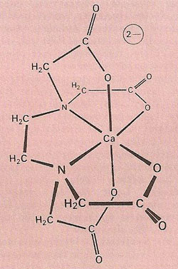 The complex ion formed when the hexadentate ligand EDTA (ethylenediaminetetraacetic acid) chelates a calcium (Ca2+) ion