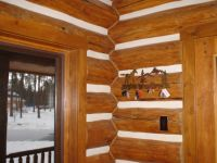 interior walls of a log home
