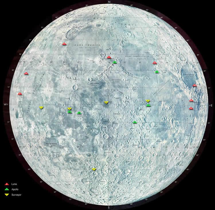 Landing sites of Luna, Surveyor, and Apollo missions
