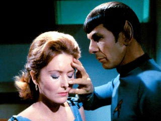 Mind-meld: A procedure carried out by Vulcans in the fictional universe of Star Trek. It involves the temporary creation of a shared consciousness, usually through direct physical contact.
