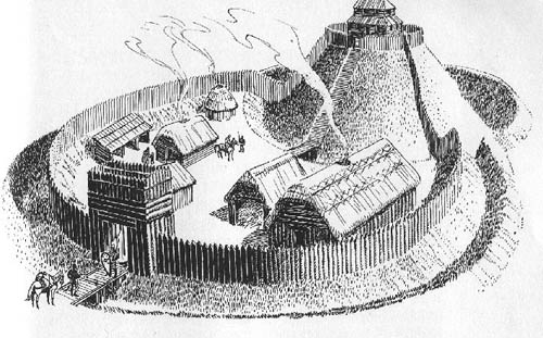 artist's impression of a motte-and-bailey