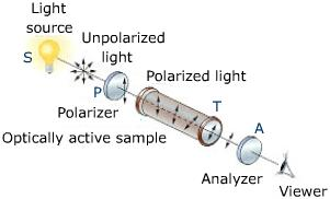 rotation of the plane of polarization by an optically active substance