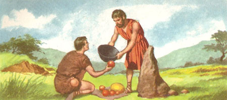 Two peasants exchanging goods on the boundary of their fields