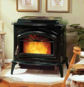 A pellet stove is a space heating device that burns small pieces of solid fuel known as pellets.