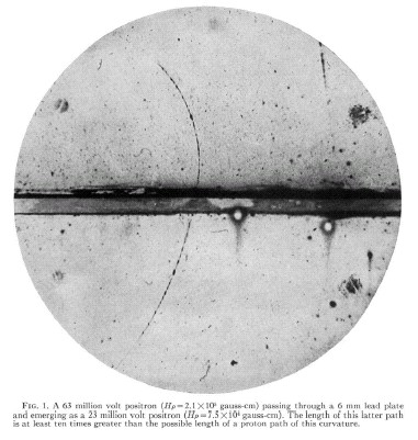 Andersons cloud chamber picture of cosmic radiation from 1932 showing for the first time the existence of the anti-electron that we now call the positron.