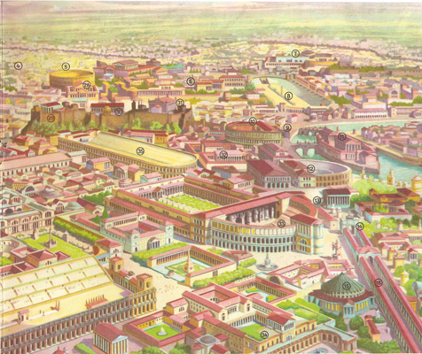 Reconstruction of the city of Rome at the time of the Emperor Aurelian (AD 270-275)