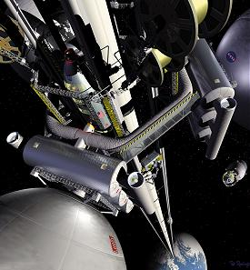 artist impression of a space elevator