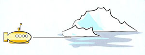 submarine and iceberg
