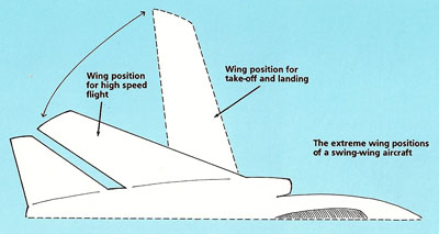 Wing positions of a swept-wing aircraft