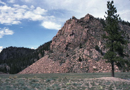 Talus build-up at the base of a steep slope in Colorado