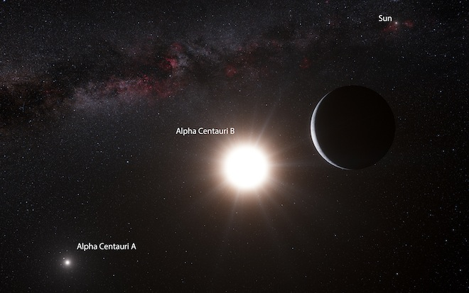 Artist's impression of the newfound planet in orbit around Alpha Cen B