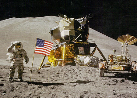 James Irwin saluting the American flag on the Moon during the mission of Apollo 11