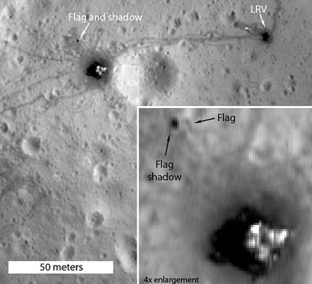 An image of the Apollo 16 landing site from Lunar Reconnaissance Orbiter