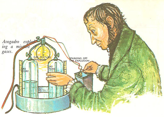 Avogadro exploding a mixture of gases