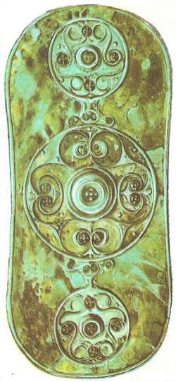 The Battersea Shield. This enameled bronze shield, found in the Thames at Battersea, is one of the masterpieces of Celtic art