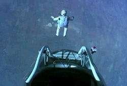 Baumgartner at the start of his record-breaking skydive