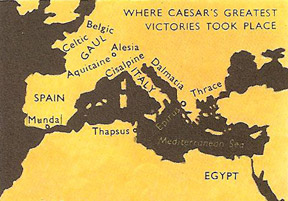 map of Julius Caesar's greatest victories
