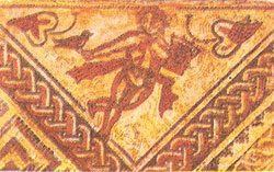 Part of a mosaic        floor from Chedworth depicting Spring
