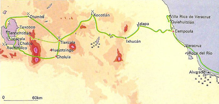The route of Hernan Cortes