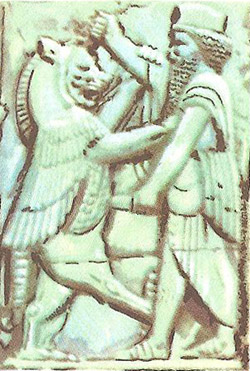 A bas-relief showing Darius fighting a monster