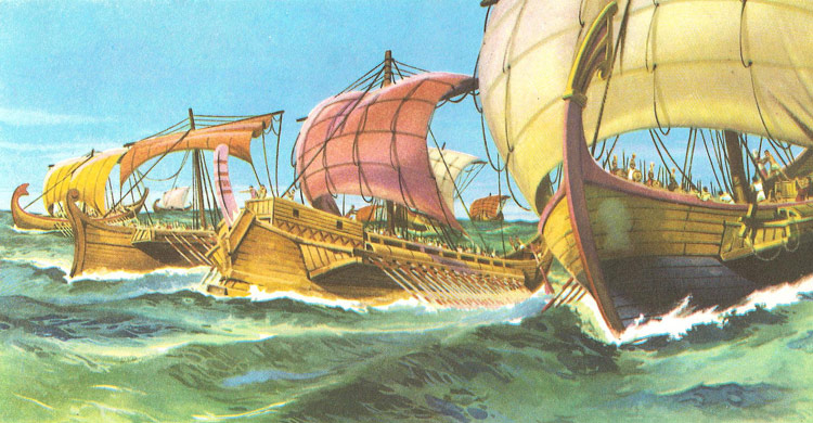 The Greek ships sail across the Aegean Sea to land the expedition on the        coast of Asia Minor, before starting the siege of Troy