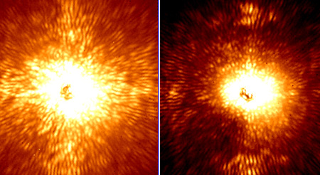 The nearby star HD 157728. In both these images of it, the star is centered but in the right image much of its light has been removed by an adaptive optics system and coronagraph belonging to Project 1640.