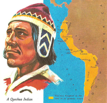 Quechua indian and map