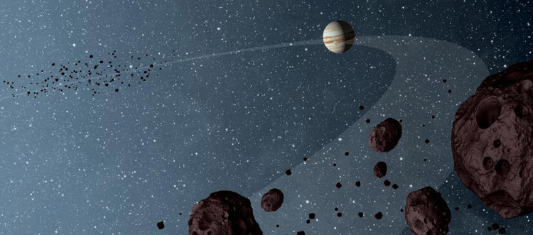 Artist impression of Jupiter Trojans