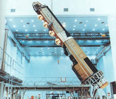 A KH-9 satellite being lifted for testing before launch. Credit: NRO