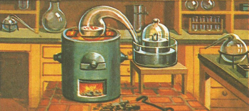 Lavoisier's apparatus for the famous experiment in which he showed the importance of oxygen in the burning process.