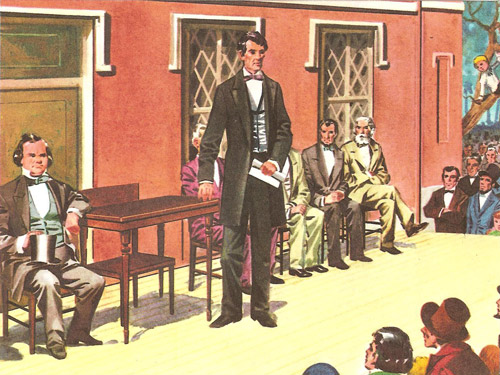 In the Senate        campaign of 1858 Lincoln challenged Senator Douglas to a series of debates