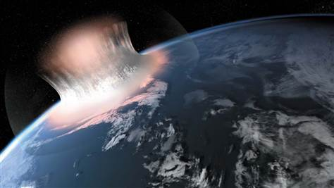 Artist's impression of the giant collision in which the hypothesized Maniitsoq impact crater formed.
